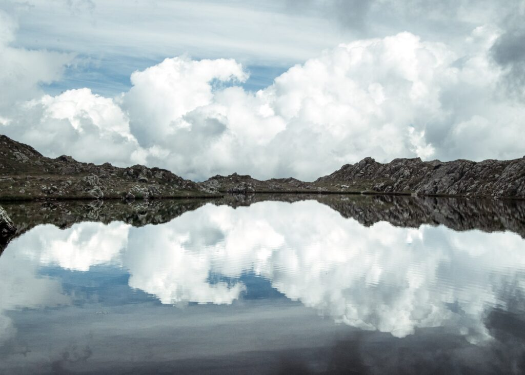 landscapes photography: a portfolio selection - mountain lake reflection of the sky
