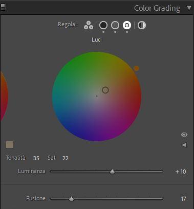 editing foto color grading luci