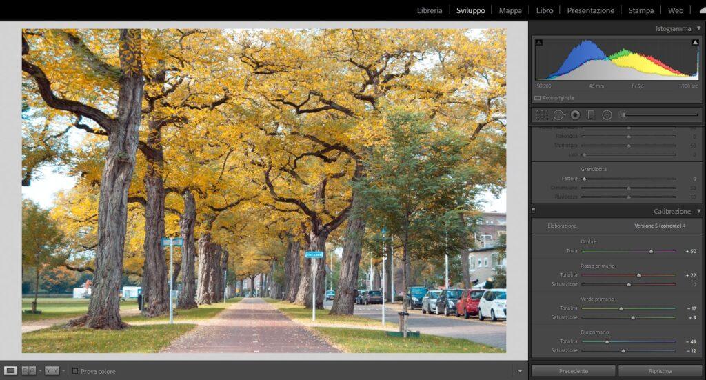 editing foto autunnali lightroom cc adobe calibrazione